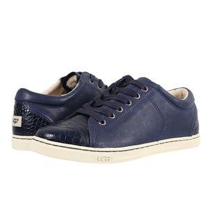 UGG® Navy Taya Croco Leather Sneaker